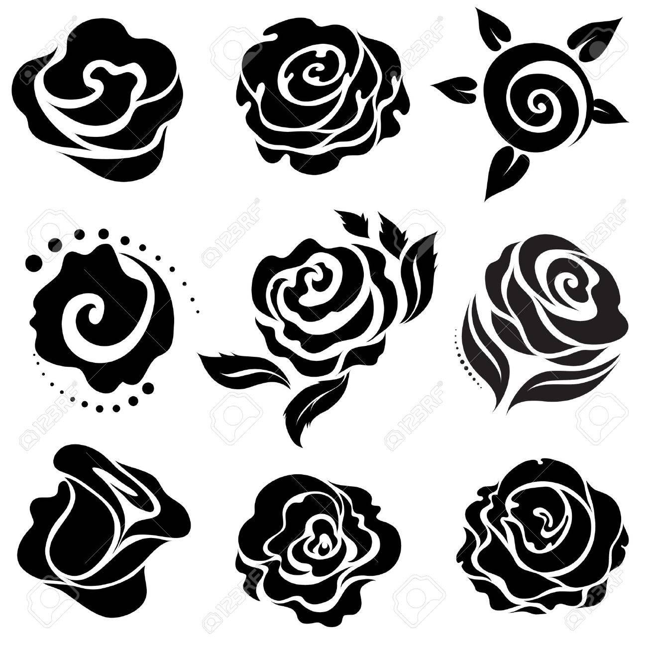 Set of black rose flower design elements Stock Vector - 5229660