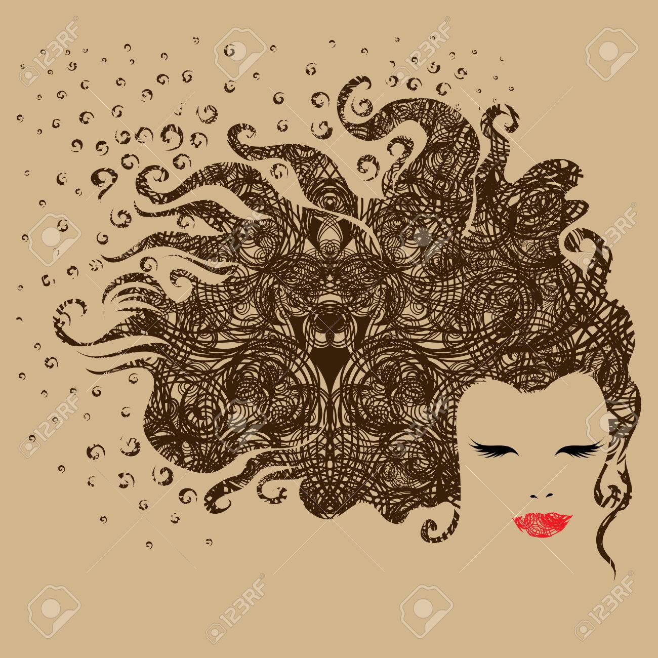 Grunge ornate portrait of a beautiful vintage girl (from my big Stock Vector - 5302061
