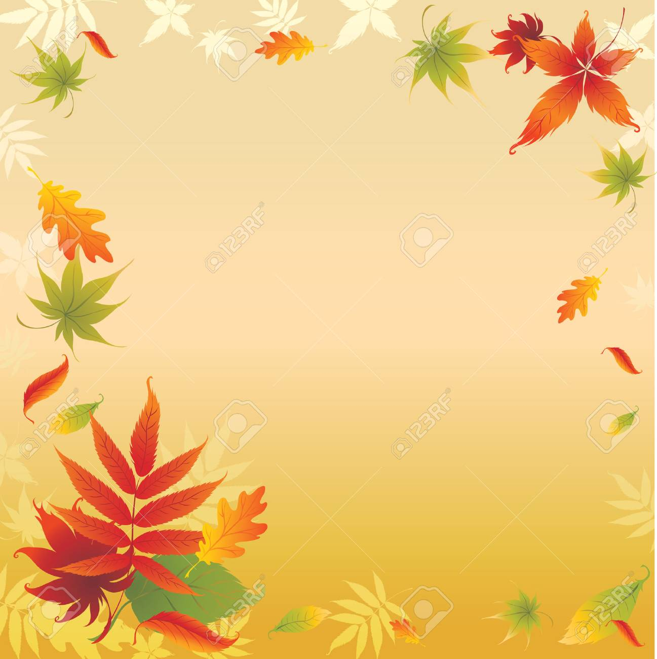 Grunge vector background with colorful Autumn Leaves. Thanksgiving Stock Vector - 5373270