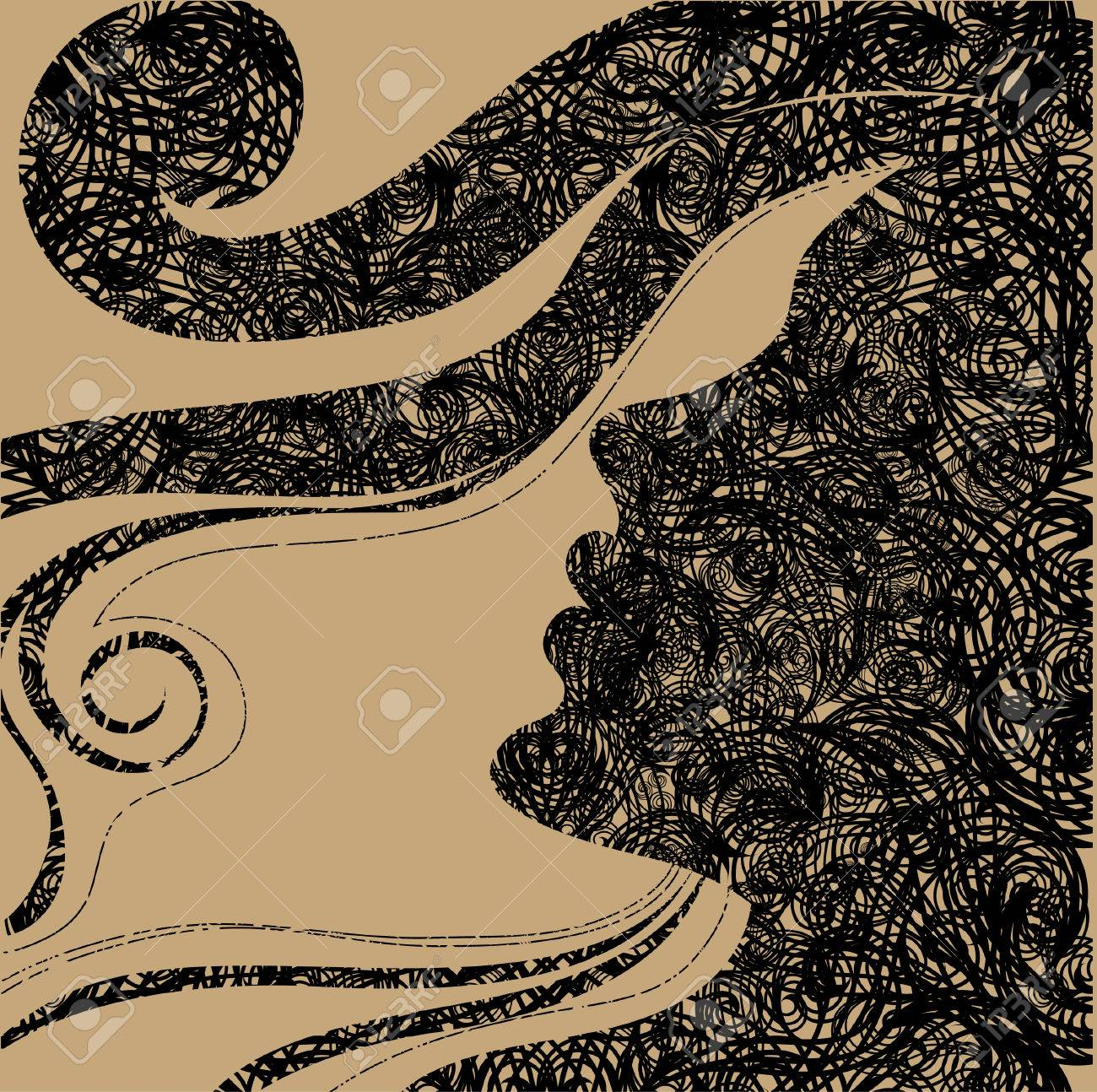 Closeup decorative vintage Halloween woman with beautiful hair Stock Vector - 5733170
