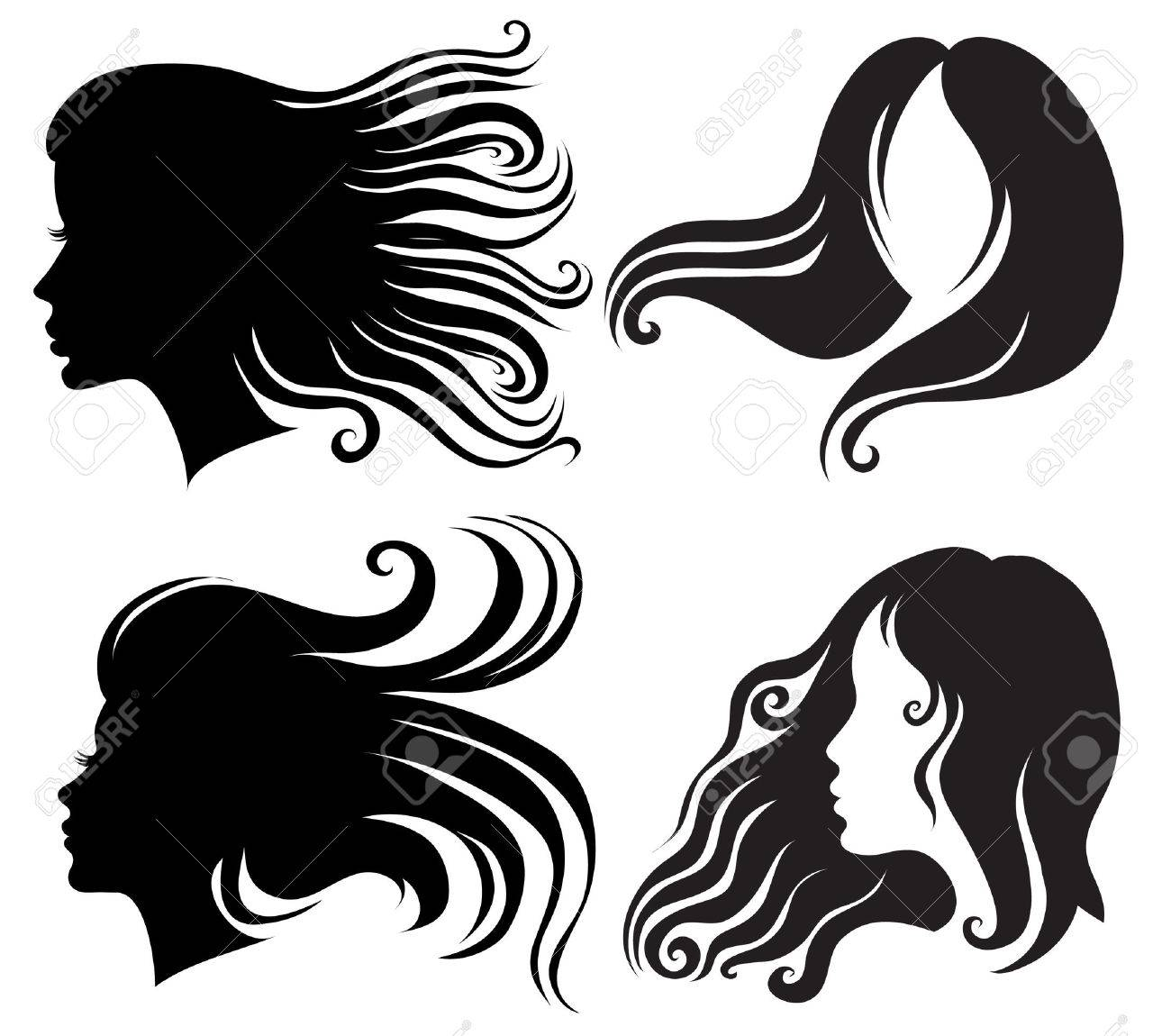 Big set of black silhouettes of woman with long blowing hair (from my big Stock Vector - 5913889