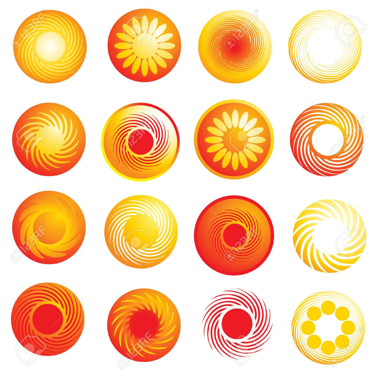 set of abstract glossy sun icons Stock Vector - 5958705