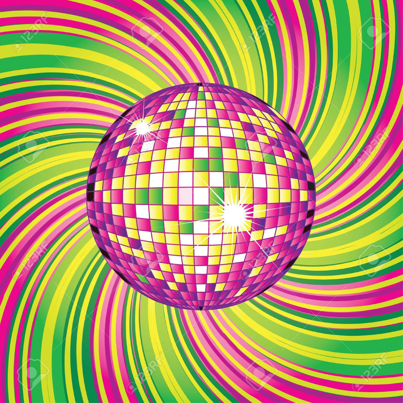 background - CD Cover design with disco-ball Stock Vector - 6432210