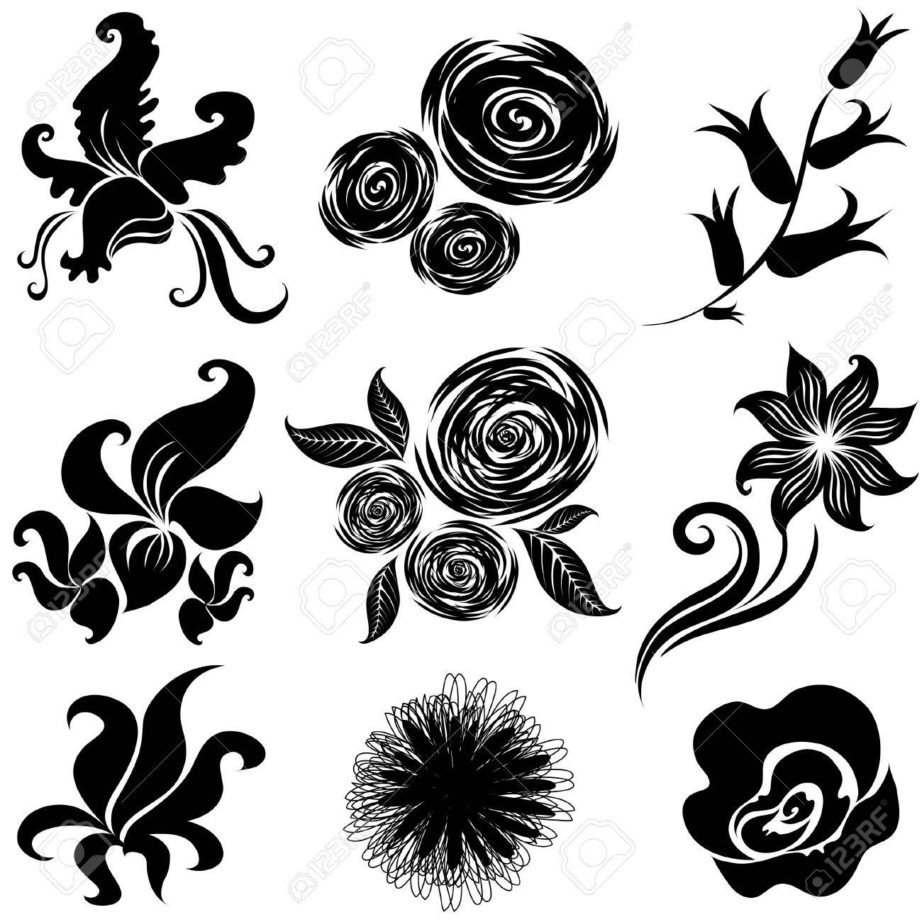 Set of black flower design elements (From my big Stock Vector - 6728158