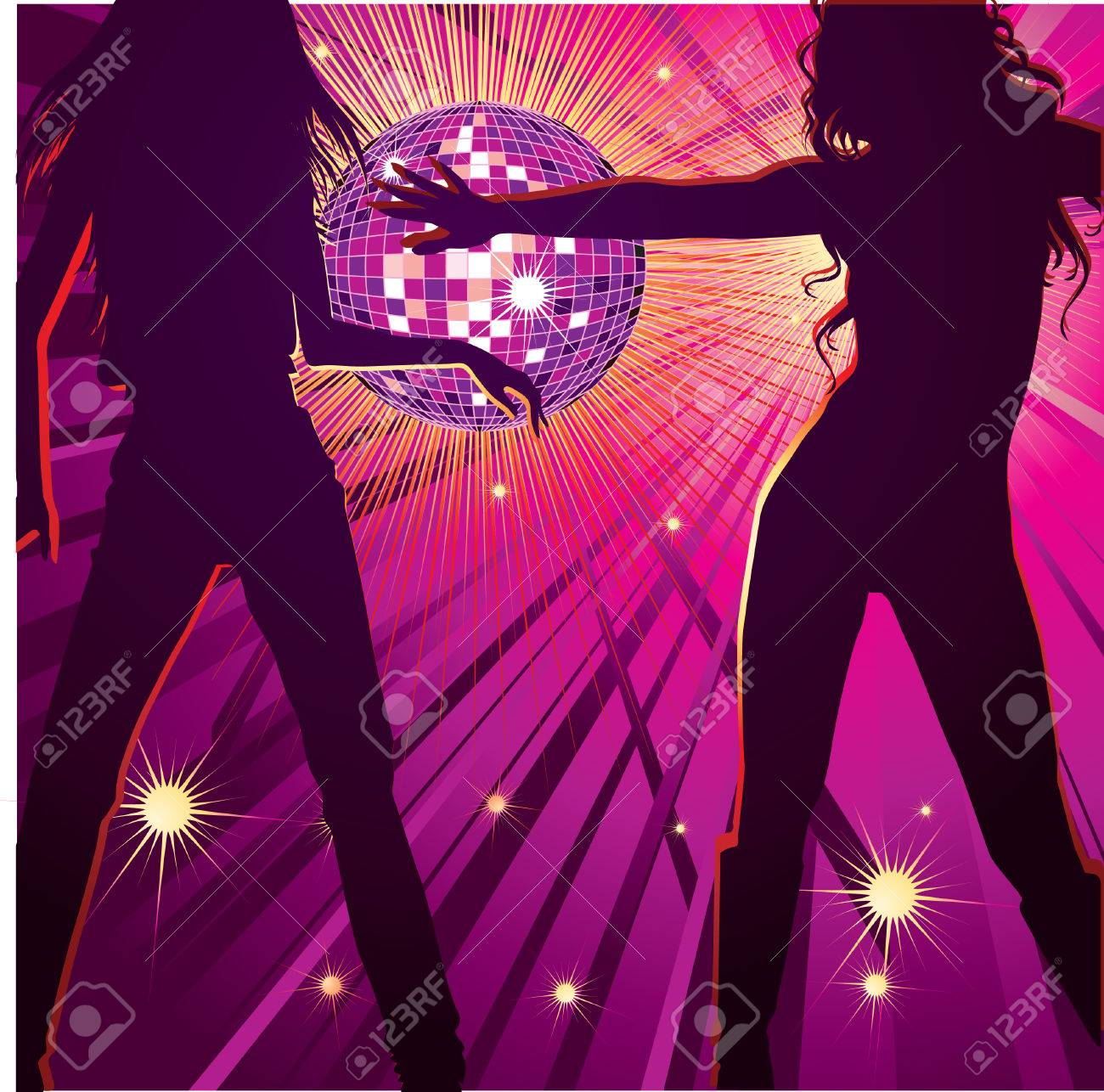 Background With Two Girls Dancing In Night Club Disco Ball And Royalty Free Cliparts Vectors And Stock Illustration Image 7315802