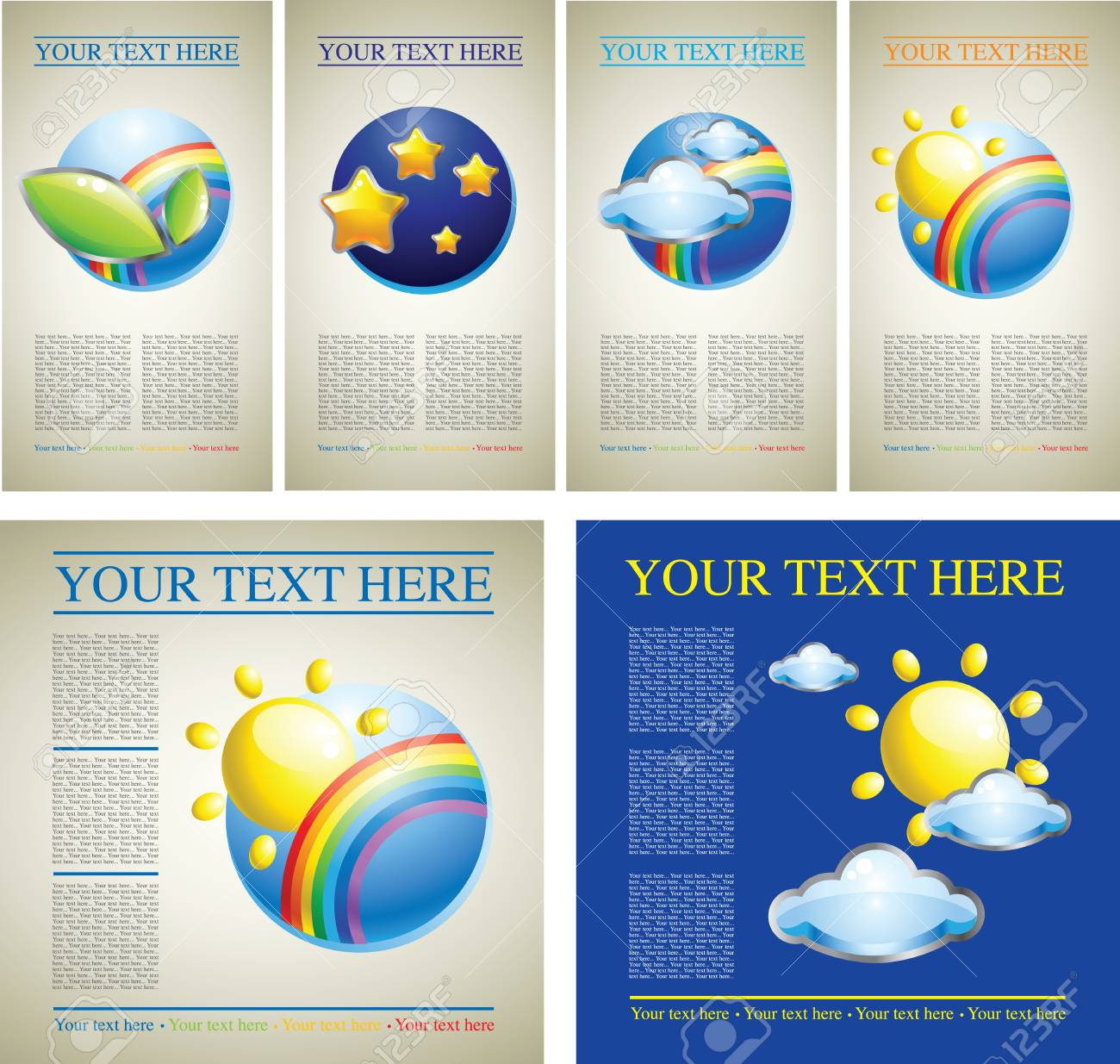 set of design samples with colorful pictures with sky and nature Stock Vector - 7767067