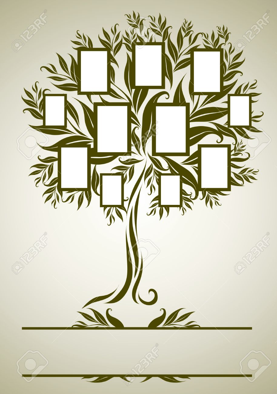 Family Tree Design With Frames And Autumn Leafs. Place For Text ...