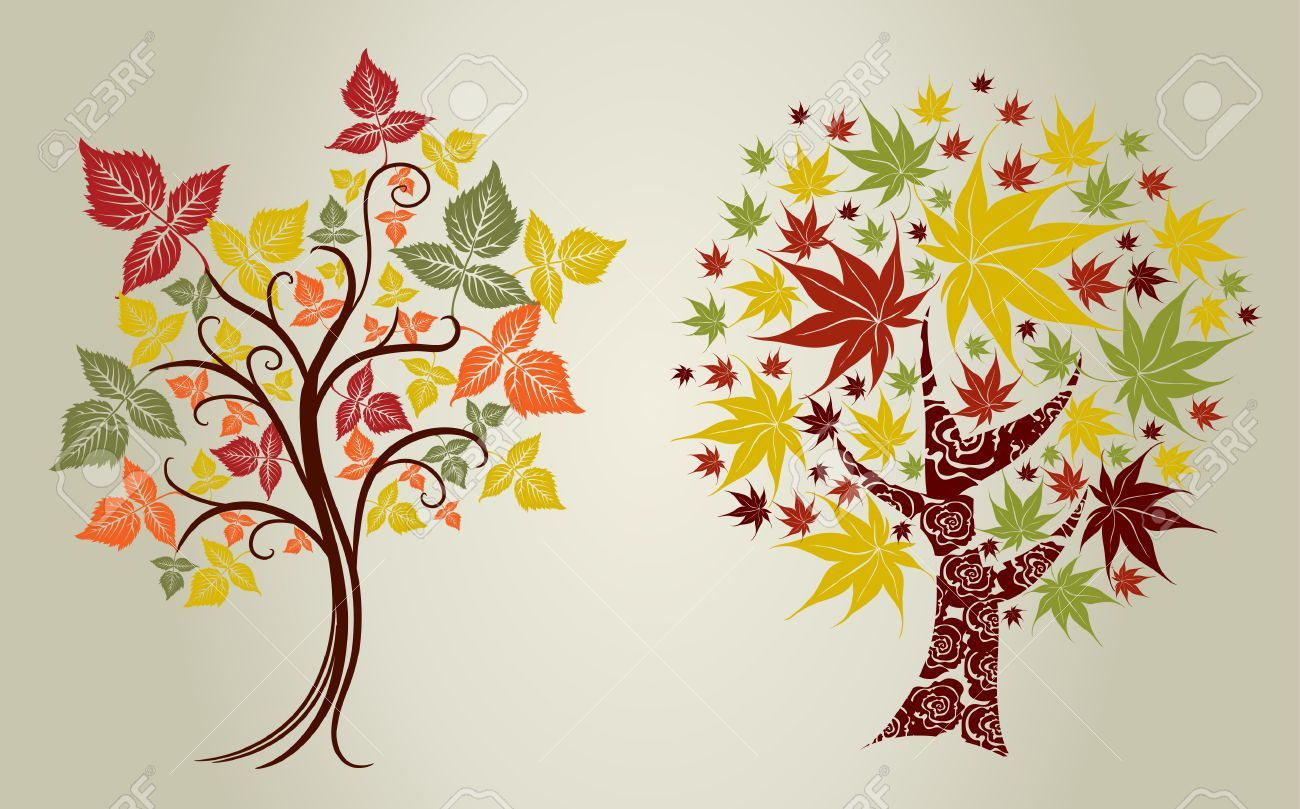 Two Vector designs grunge color trees from leafs. Thanksgiving Stock Vector - 8090470