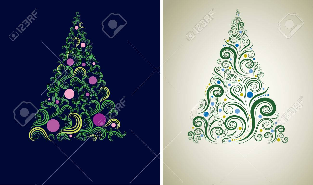 Cute Christmas Backgrounds.Two Decorative Shining Cute Christmas Tree Backgrounds From