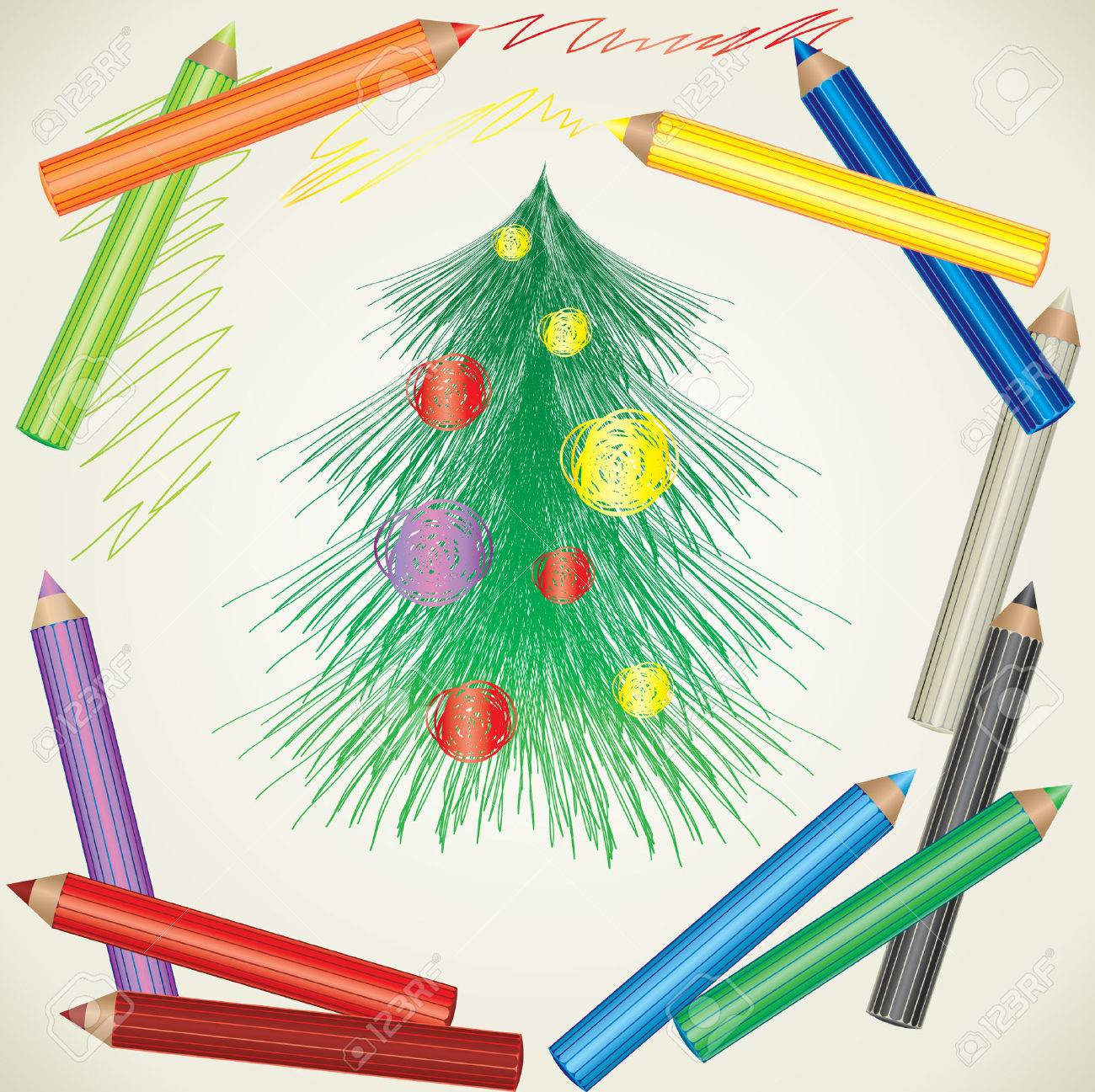 Colorful Background With Drawing Of Christmas Tree And Color ...