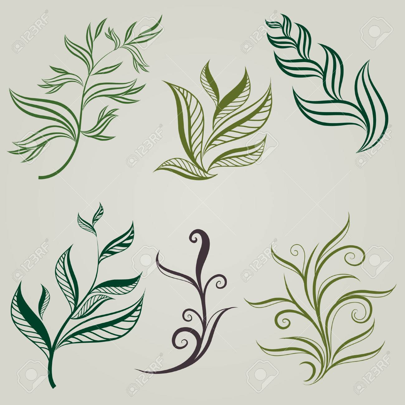 Set of leafs design elements (from my big Stock Vector - 8539921