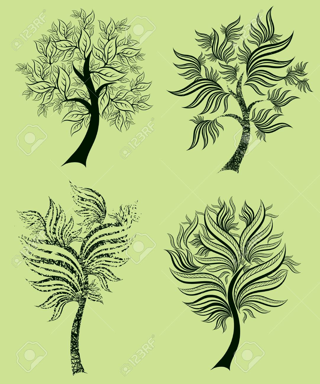 Vector set of spring tree design elements (from my big Stock Vector - 9168175