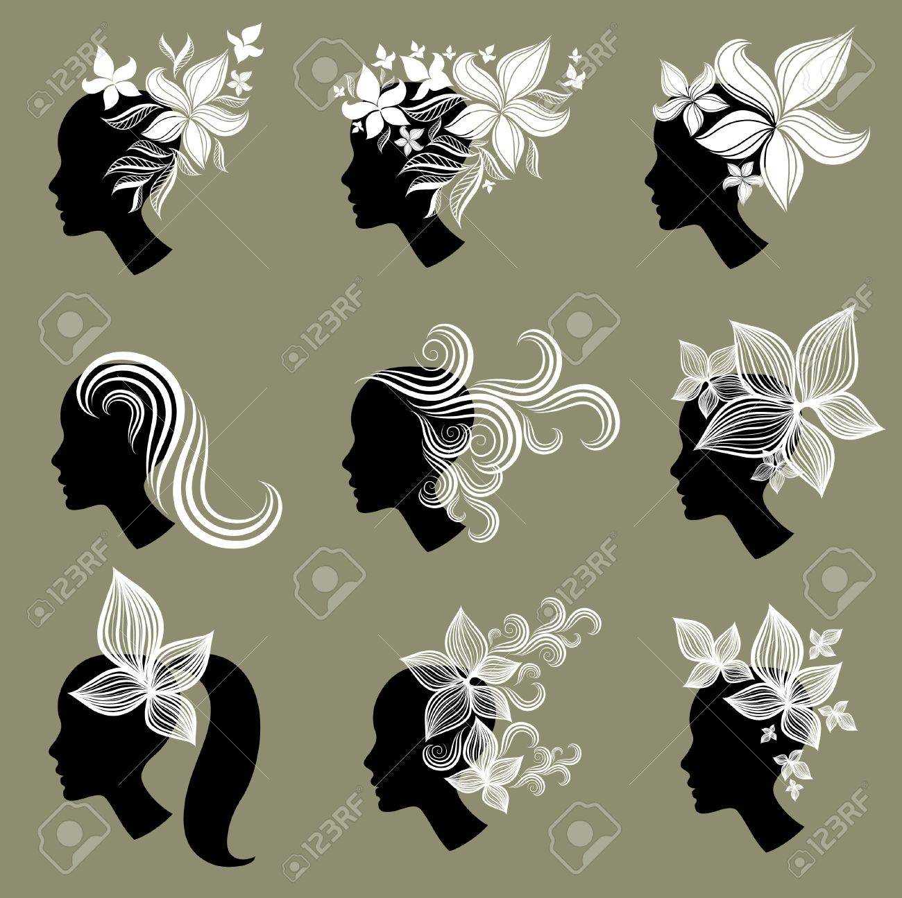 set of vintage girls hair Stock Vector - 9230800