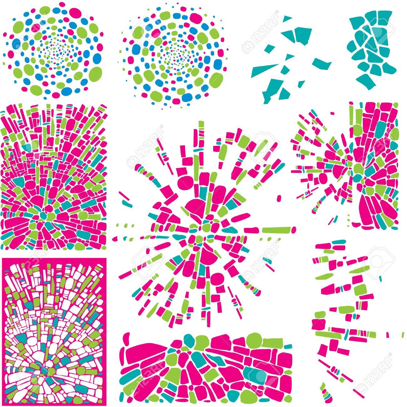 Vector Set of colorful design elements and backgrounds of mosaic Stock Vector - 9721465