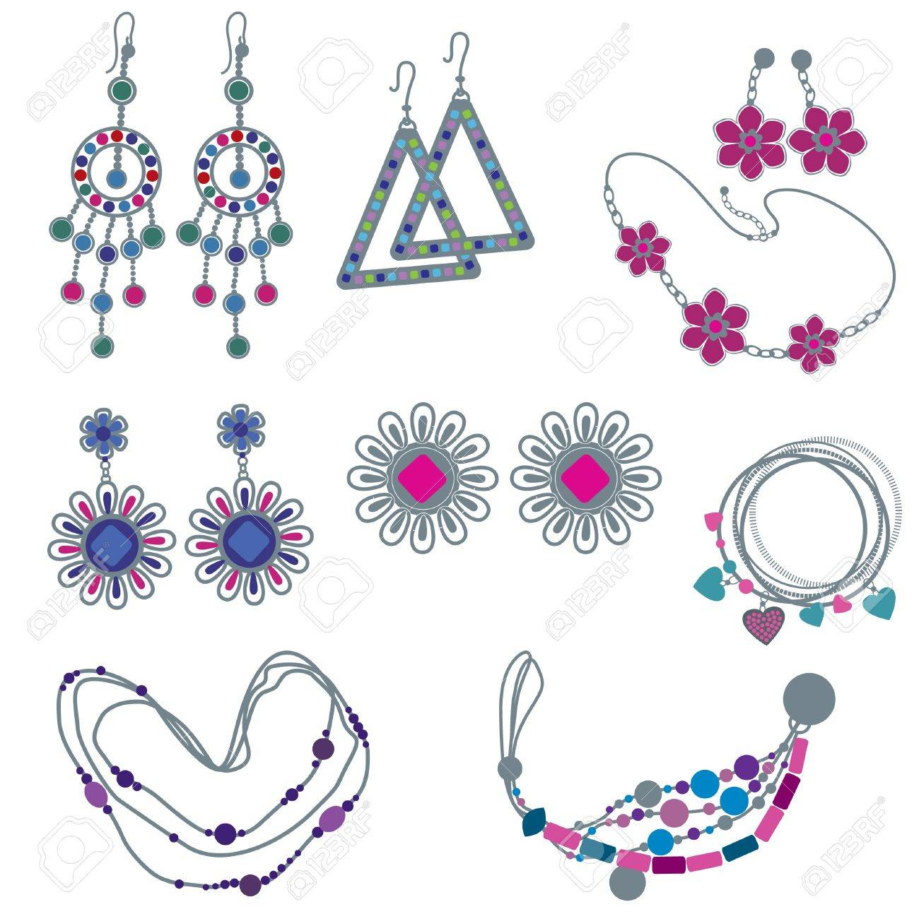 set of fashion jewelry Stock Vector - 9826220