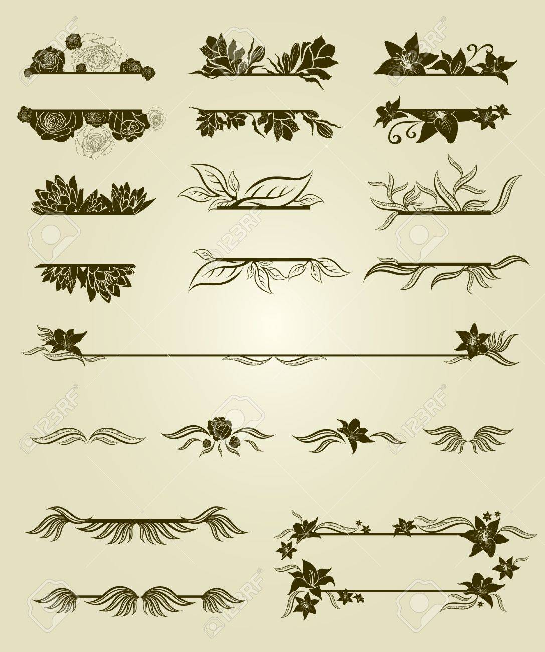 Vector set of vintage design elements with flowers Stock Vector - 9931455