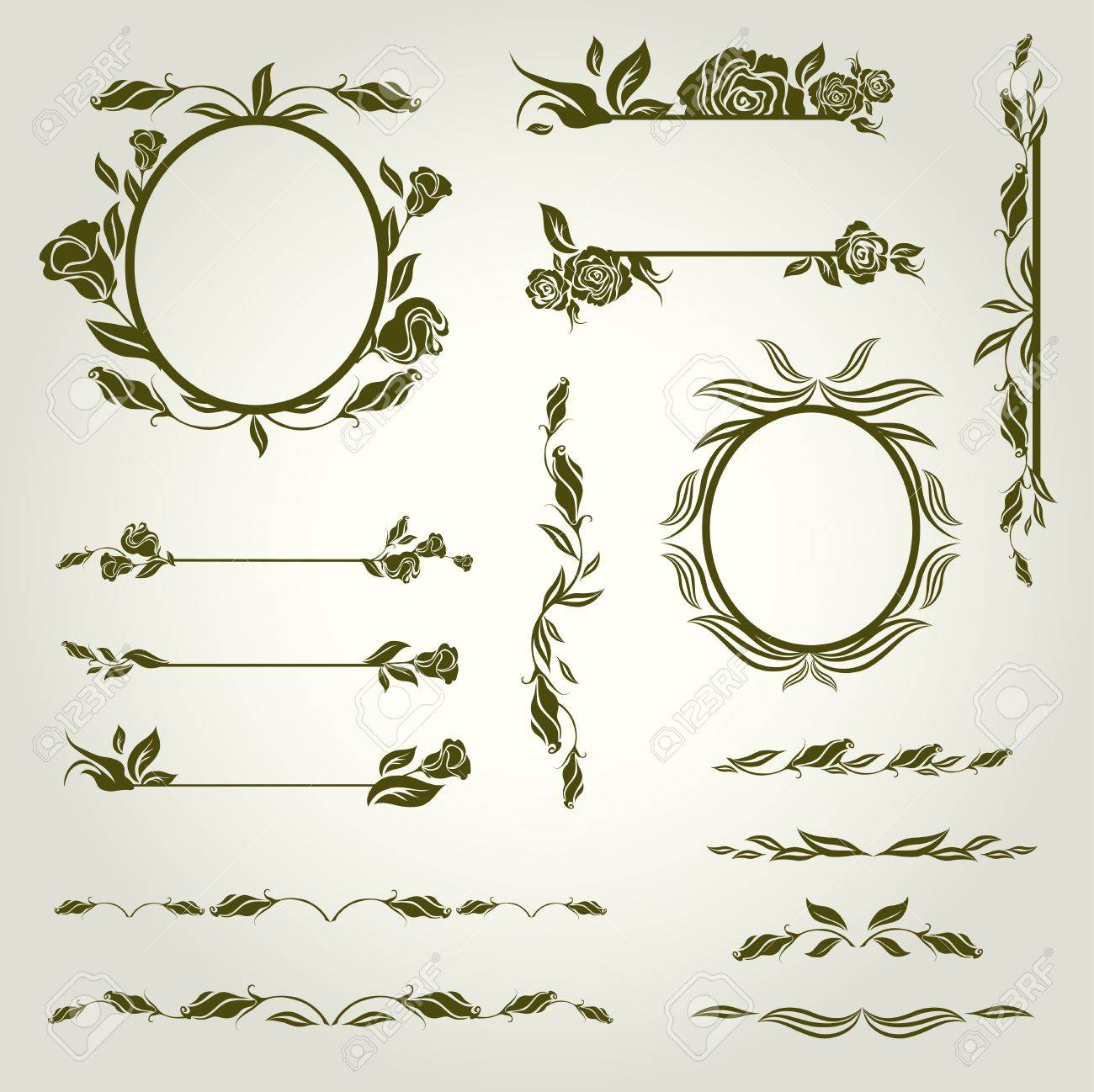 Vector set of vintage design elements with flowers Stock Vector - 9931451