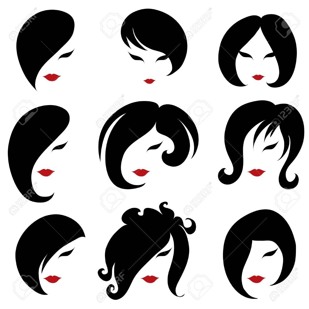 Big set of black hair styling for woman (from my big Stock Vector - 11227278