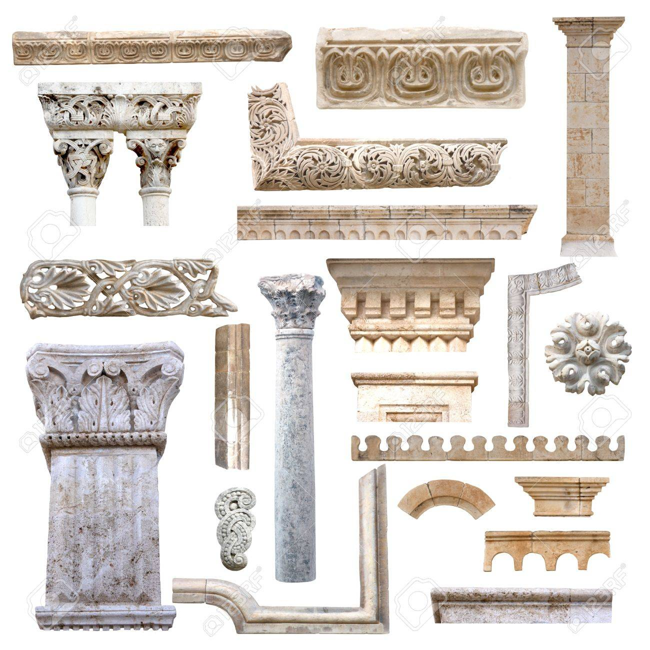 Set of isolated antique architecture details from stones Stock Photo - 11663657
