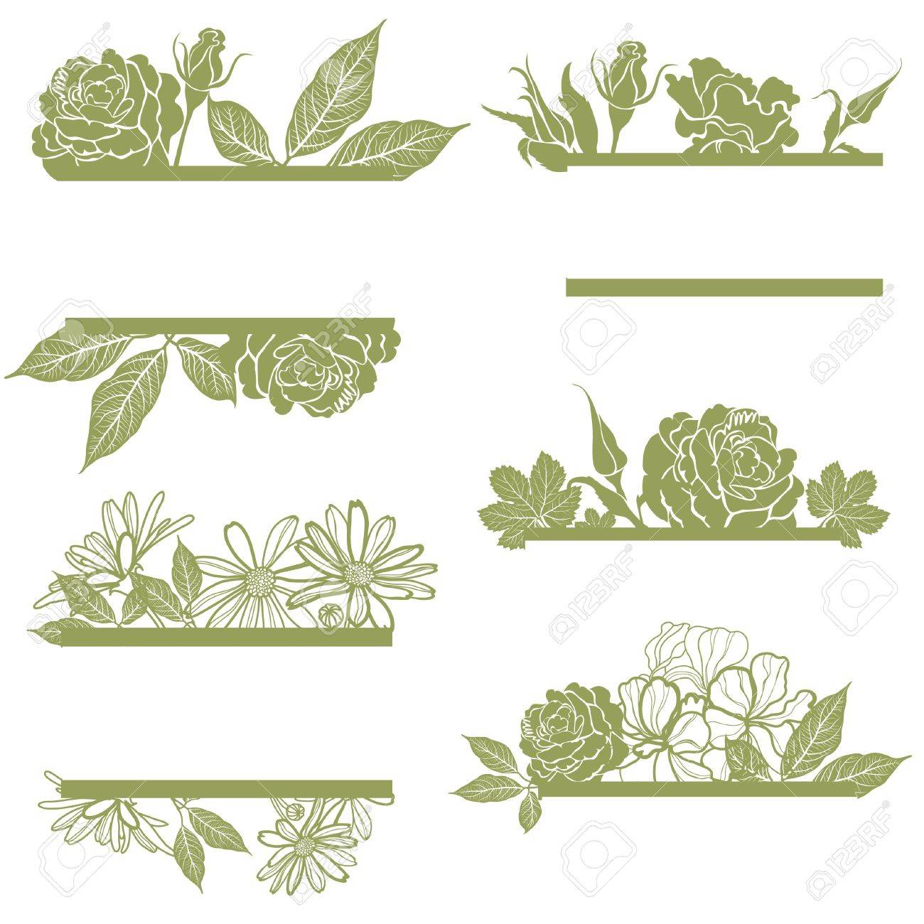 Vector set of vintage frames with flowers Stock Vector - 12371162