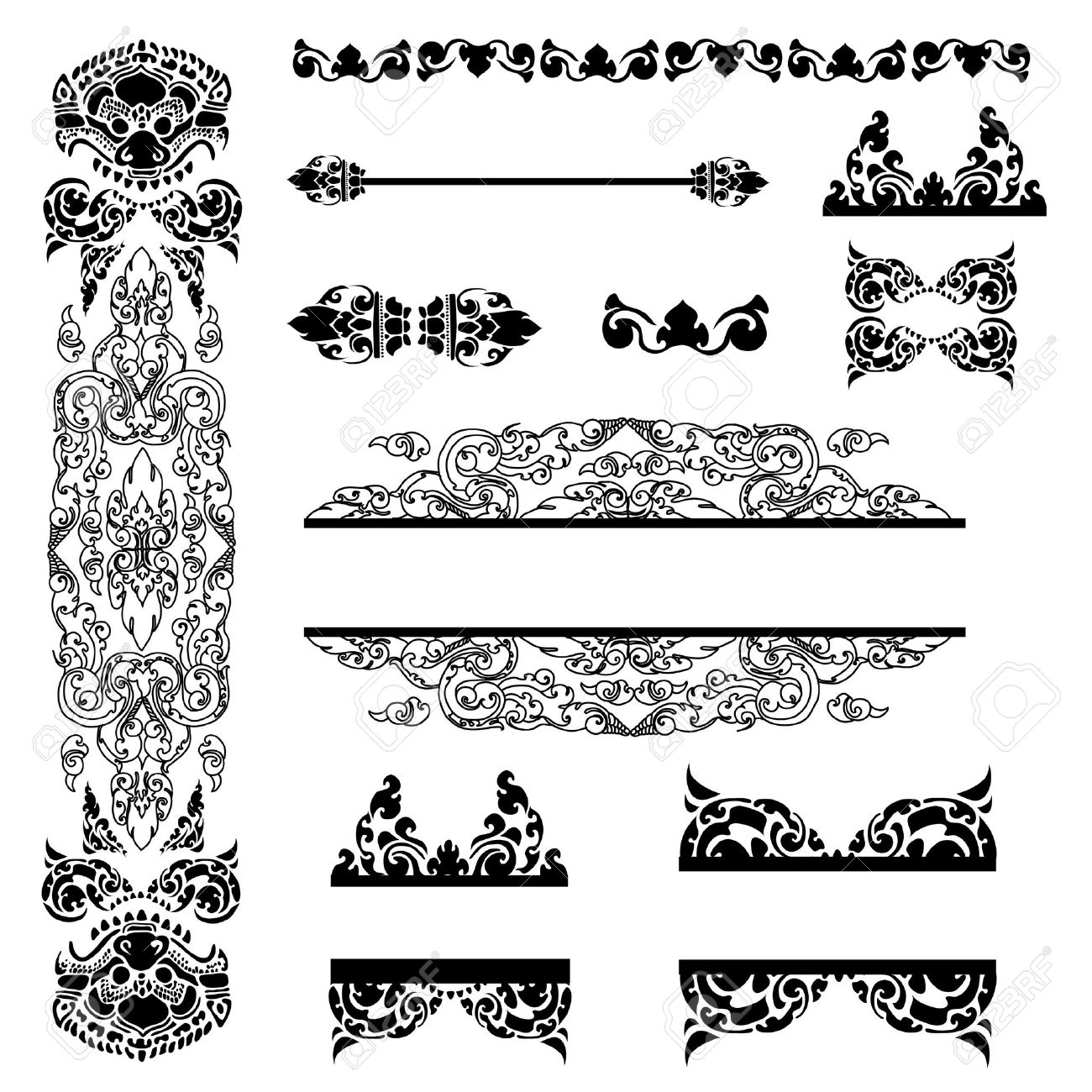 Vector set of Cambodian floral pattern Stock Vector - 12629863