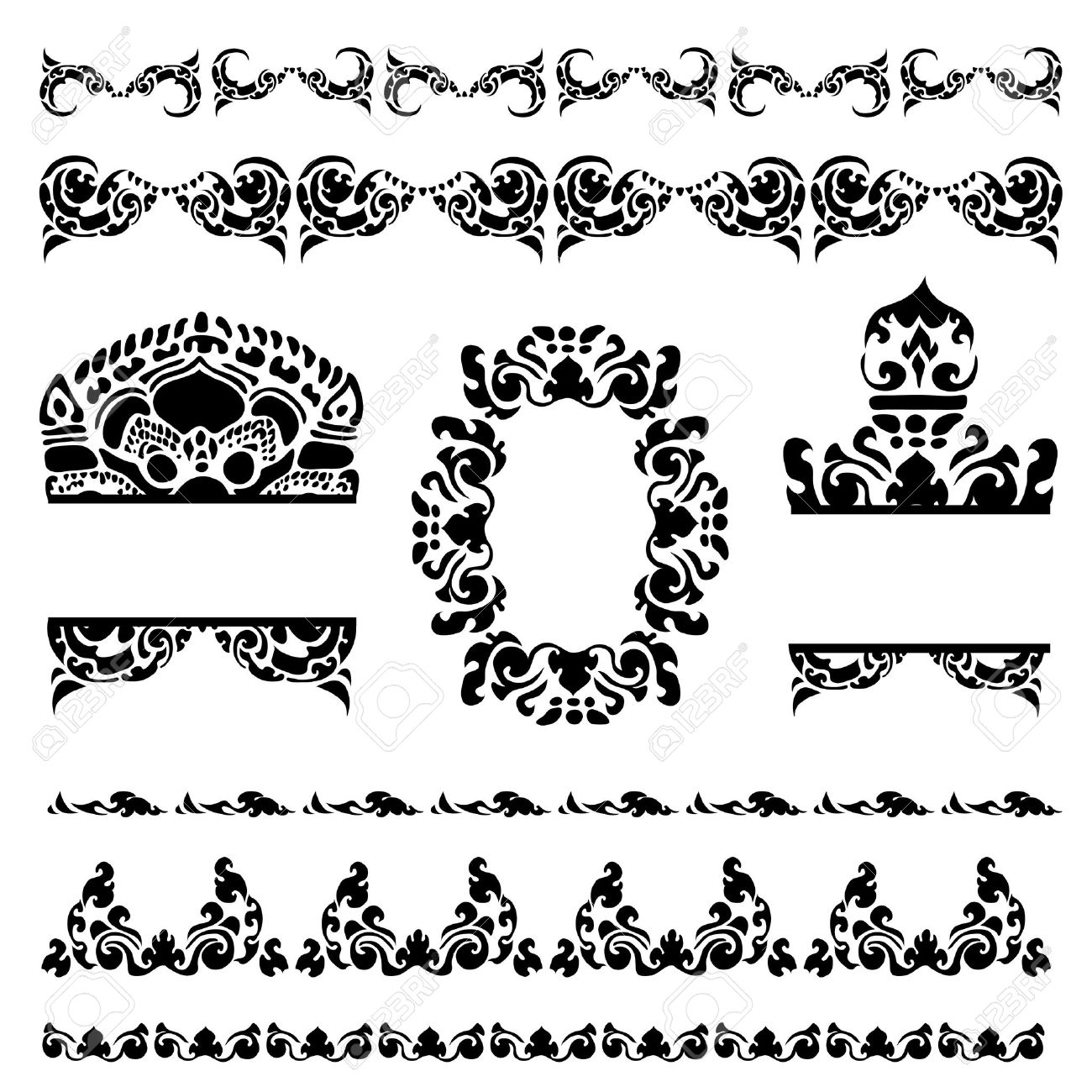Vector set of Cambodian floral pattern Stock Vector - 12629862
