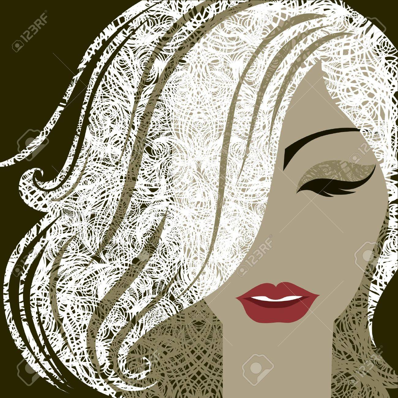 closeup decorative portrait of woman with make-up and blond long hair Stock Vector - 13592621