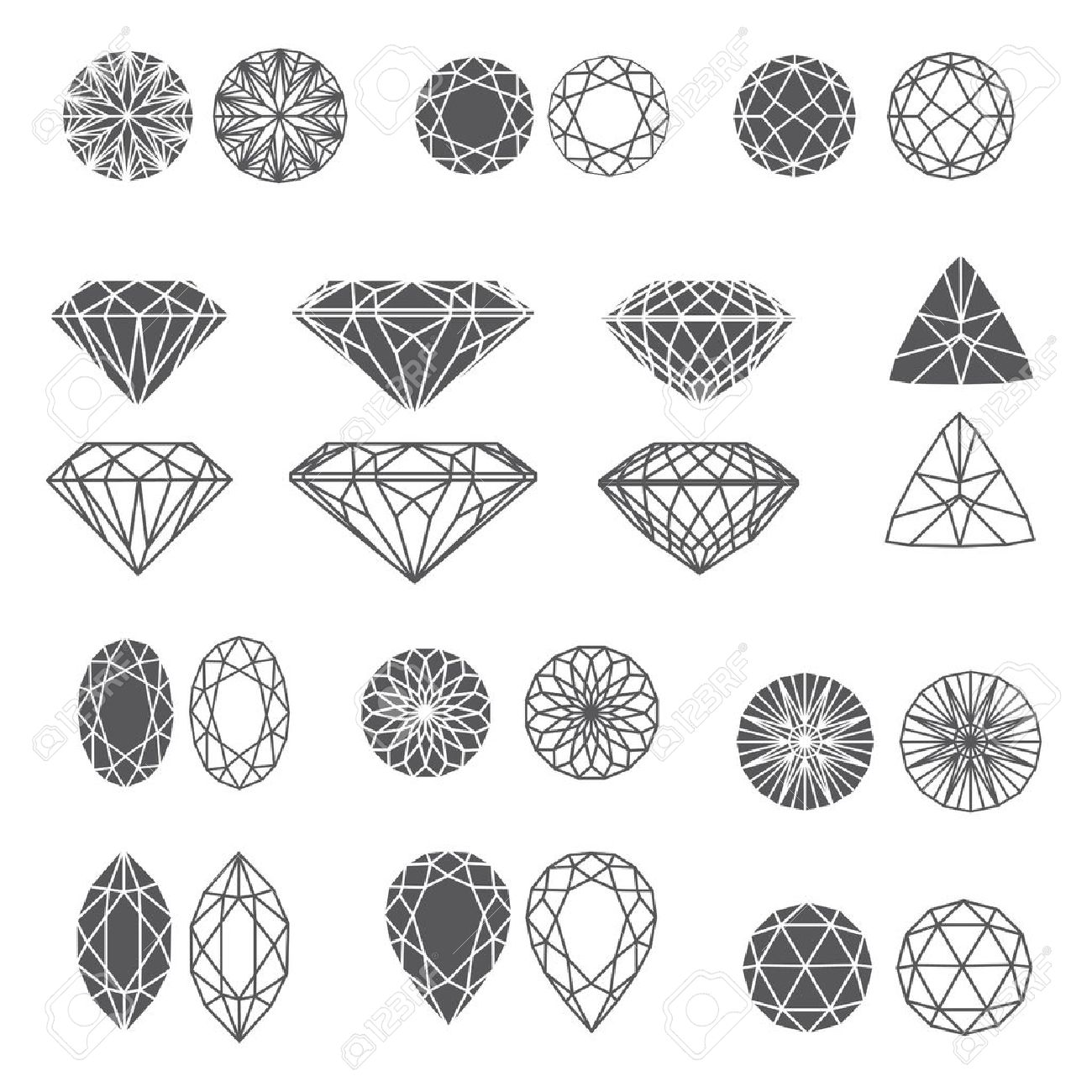 set of diamond design elements - cutting samples Stock Vector - 14991617