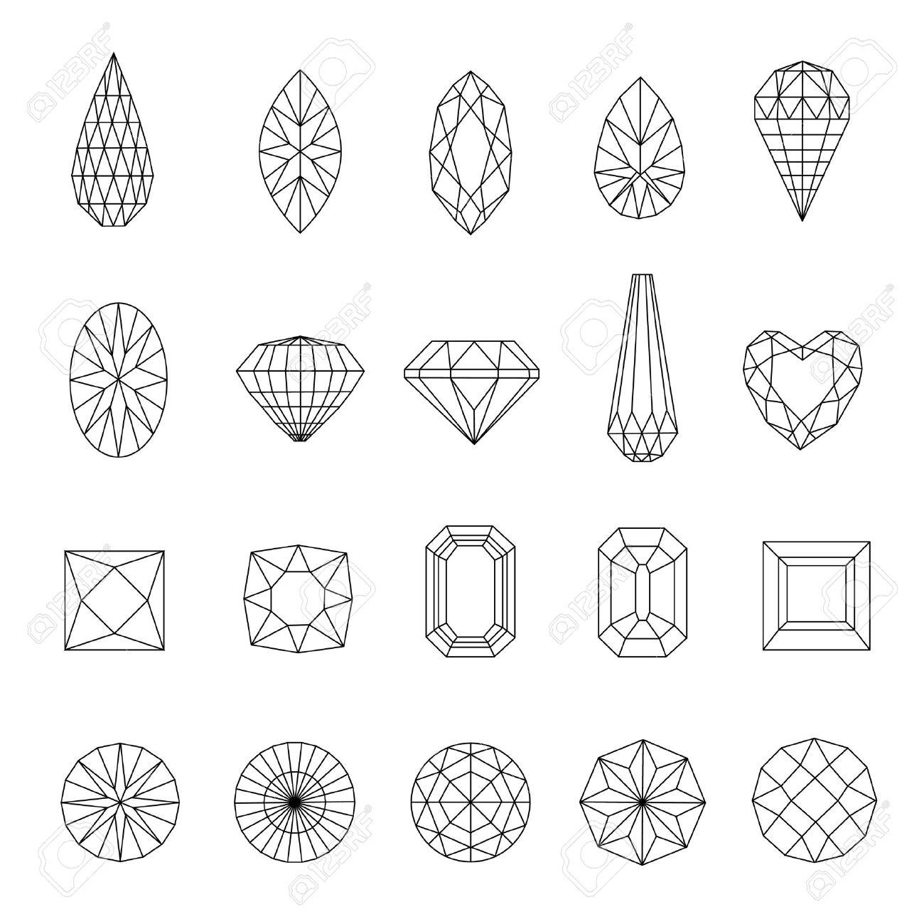 Vector set of diamond design elements - cutting samples Stock Vector - 17210419
