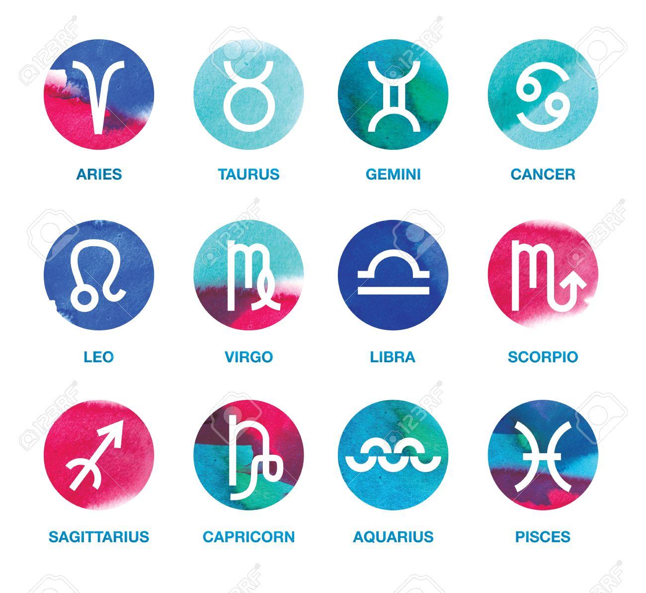 Satz Von Zodiac Symbole Design Element Widder Stier Zwillinge