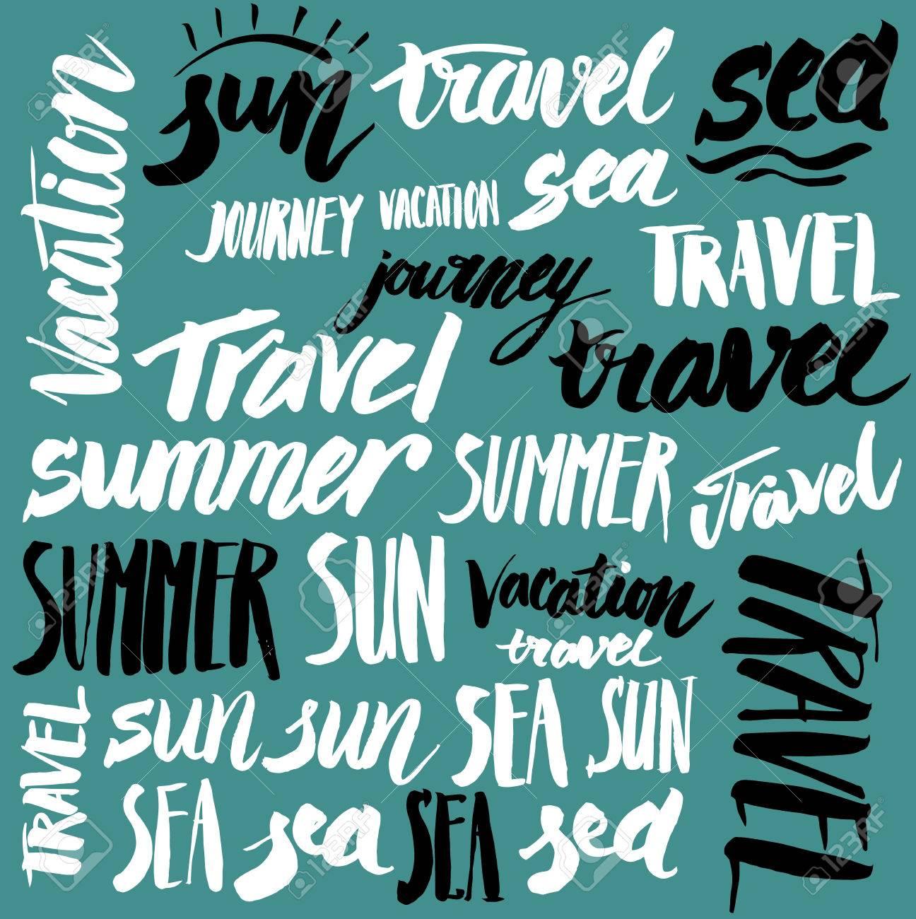 Set Of Vector Signs Handmade Calligraphy Travel Vacation Sun Sea Stock