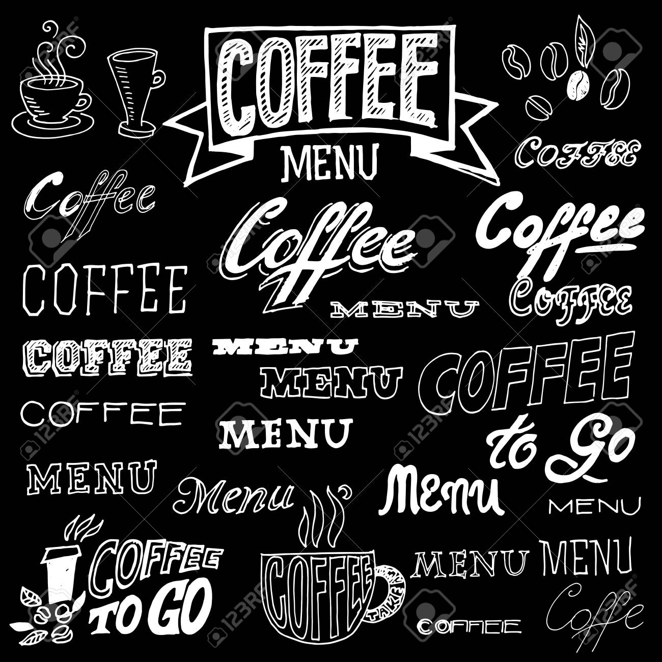 vector vector set of hand lettering signs coffee