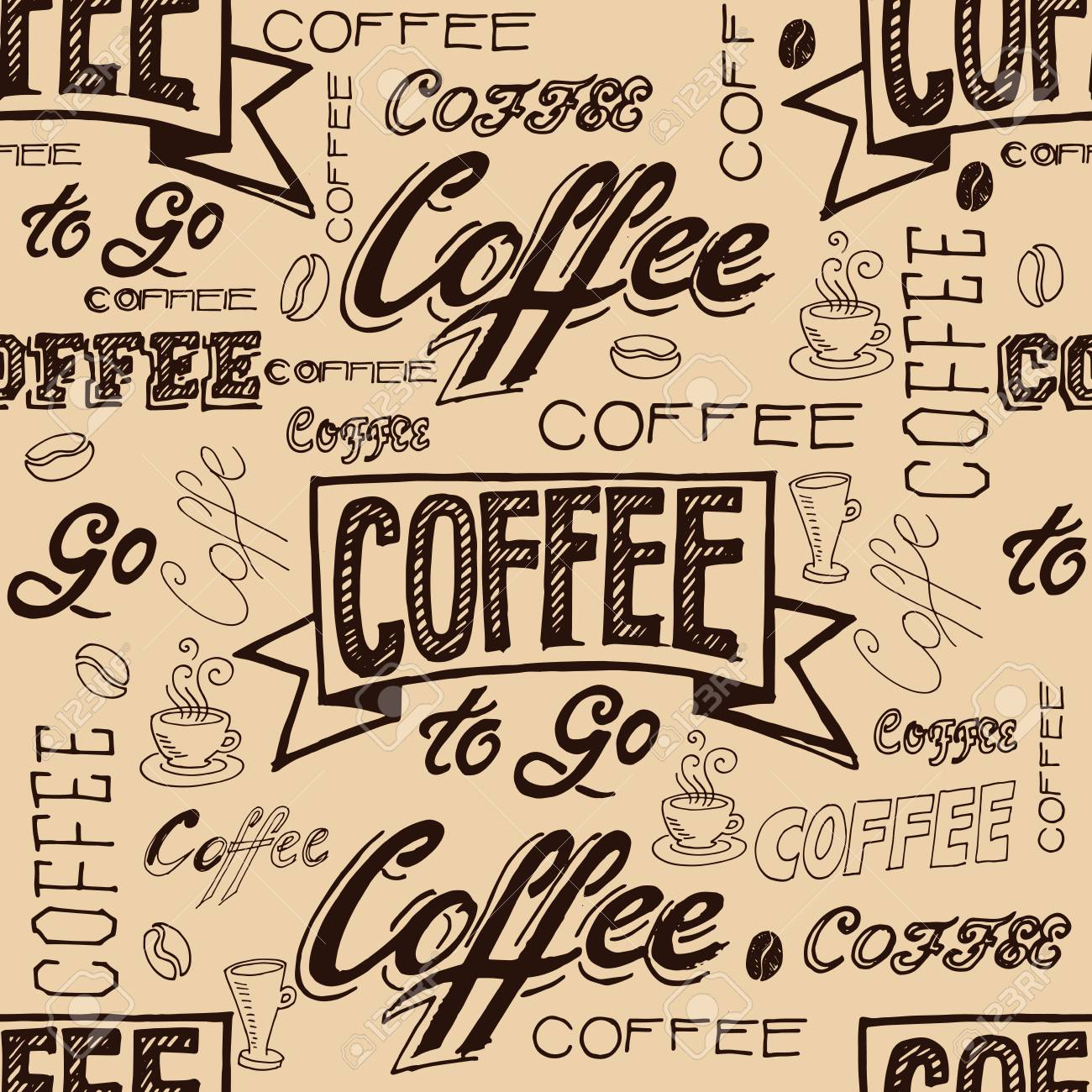 vector vector hand lettering signs coffee seamless pattern