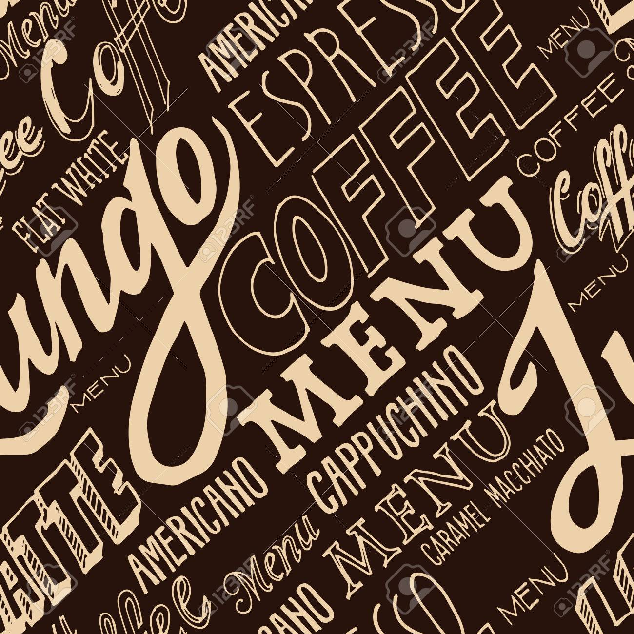 vector hand lettering signs coffee menu seamless pattern stock vector 53266406