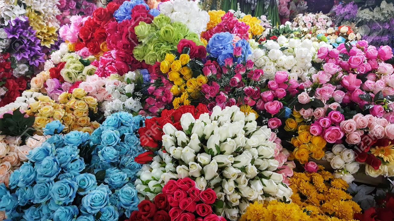 Many artificial flowers sale in the marketlorful background many artificial flowers sale in the marketlorful backgroundwallpaper crafts stock photo mightylinksfo