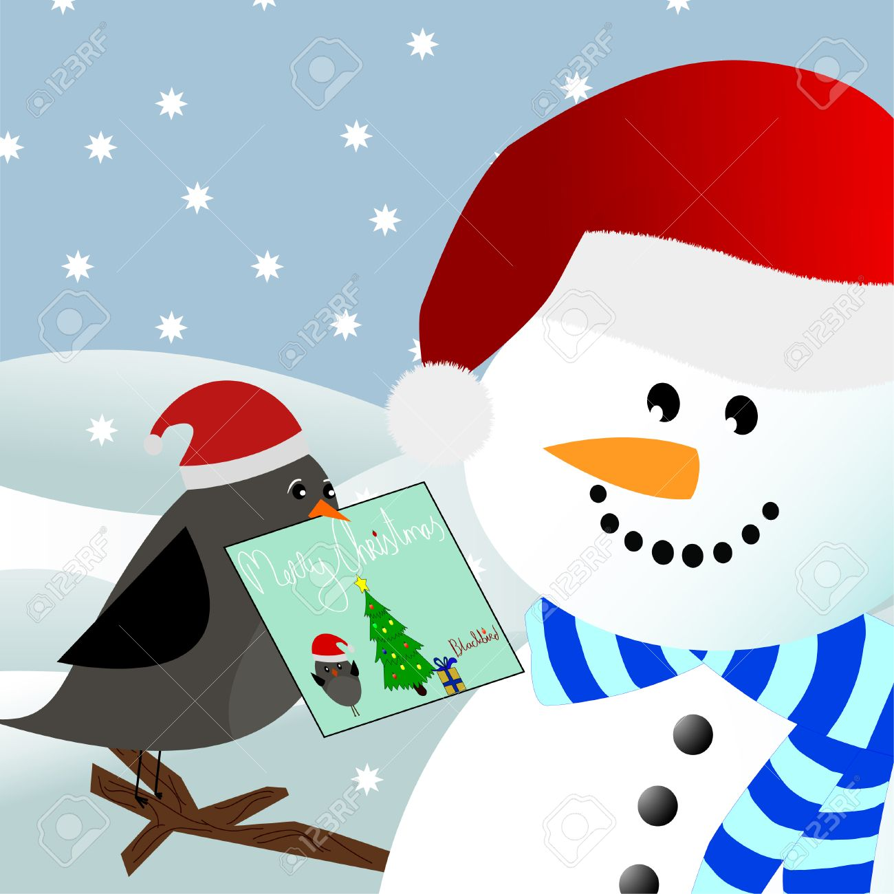 a blackbird giving a christmas card to a snowman in a winter environment Stock Vector - 8346398