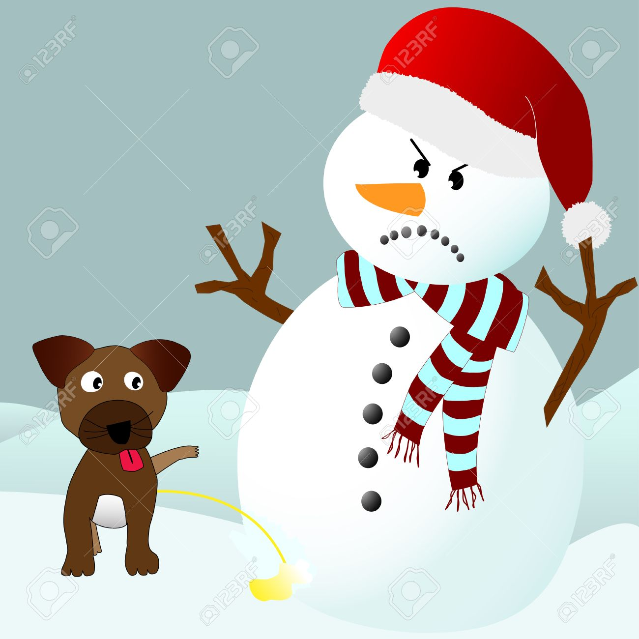 Cute puppy dog peeing on an angry snowman in a winter environment Stock Vector - 8346392