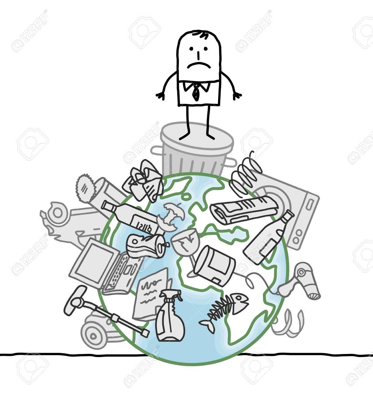 Homme D Affaires De Dessin Animé Et De La Pollution Sur Terre