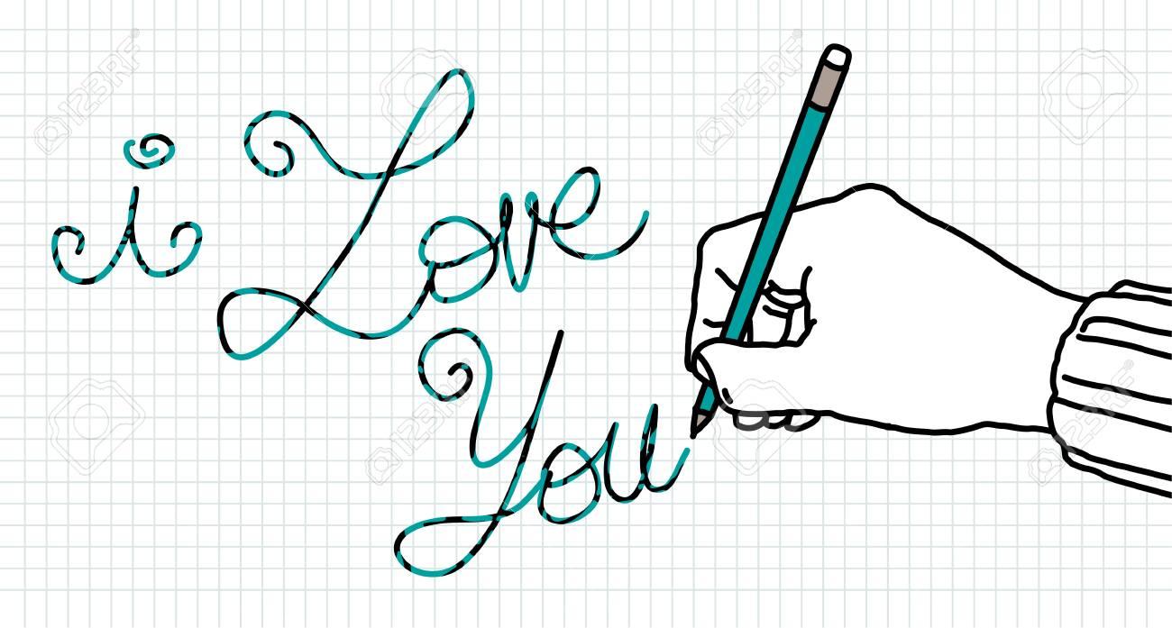 Dibujo Amante Mano Mano Con Lápiz Y Mensaje De Amor Fotos
