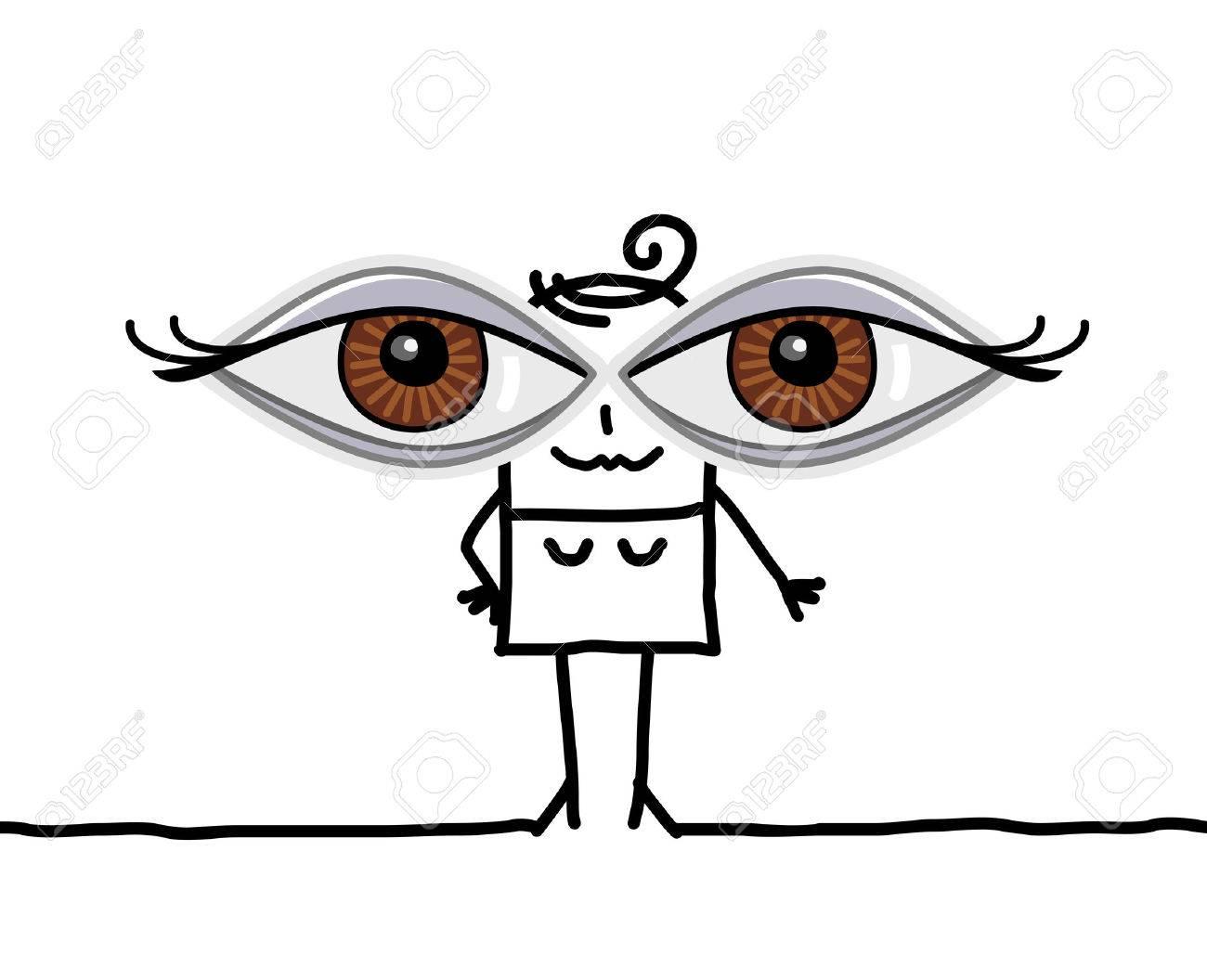 Niña De Dibujos Animados Con Los Ojos Grandes