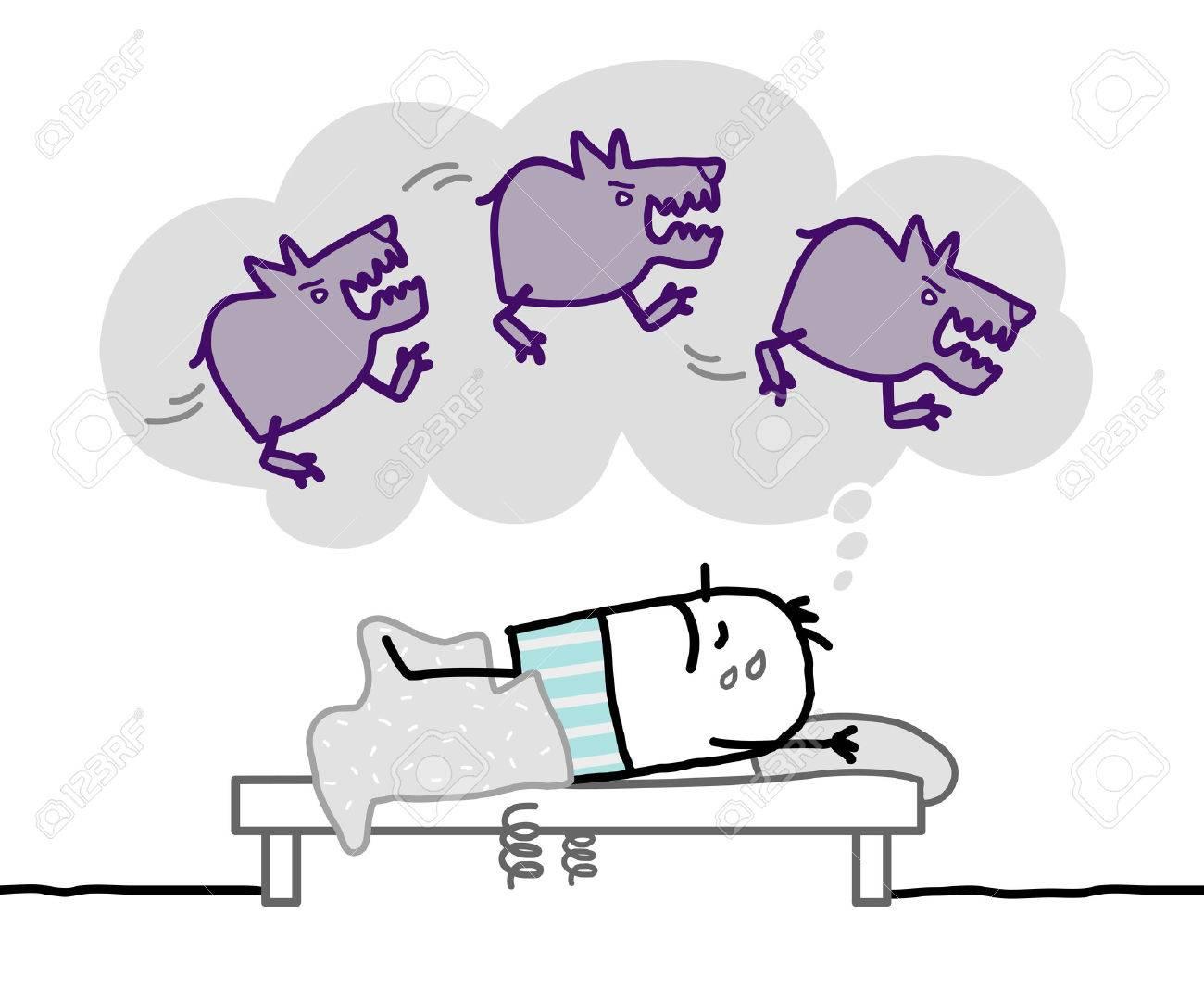 Cartoon Man having a nightmare - 52579254