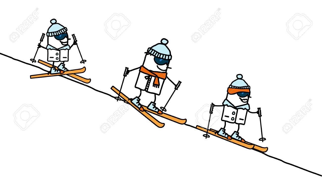 Dessin Anime Famille De Ski Banque D Images Et Photos Libres De Droits Image 52763529
