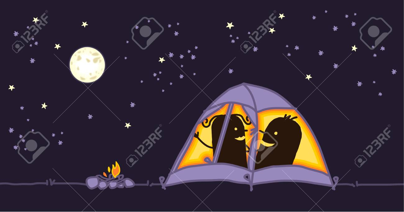 Couple In A Camping Tent By Night Stock Photo