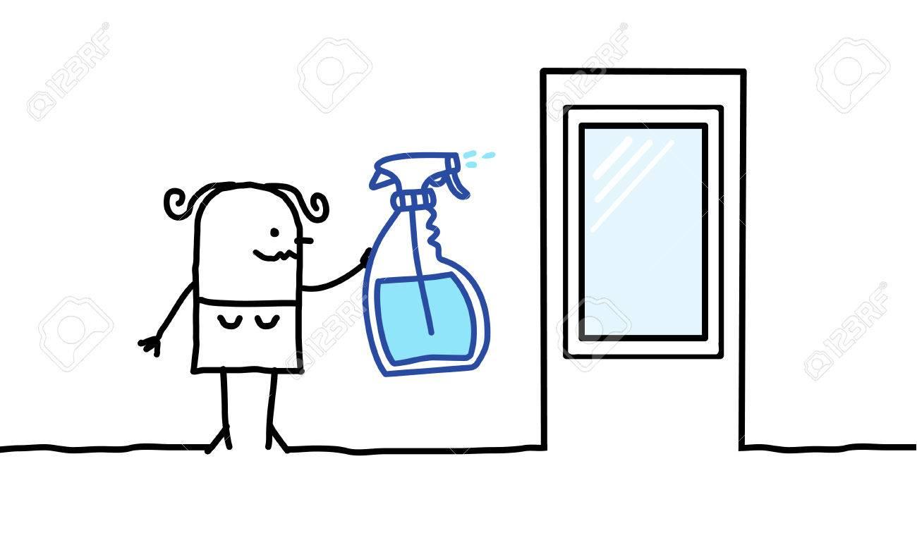 Personnages De Dessin Animé Femme De Ménage Dans Une Fenêtre