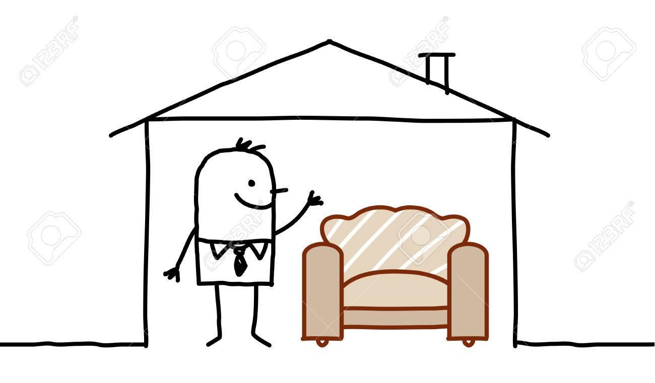 Sofa gezeichnet  Hand Gezeichnet Comic-Figuren - Ein Mann Im Haus & Sofa ...