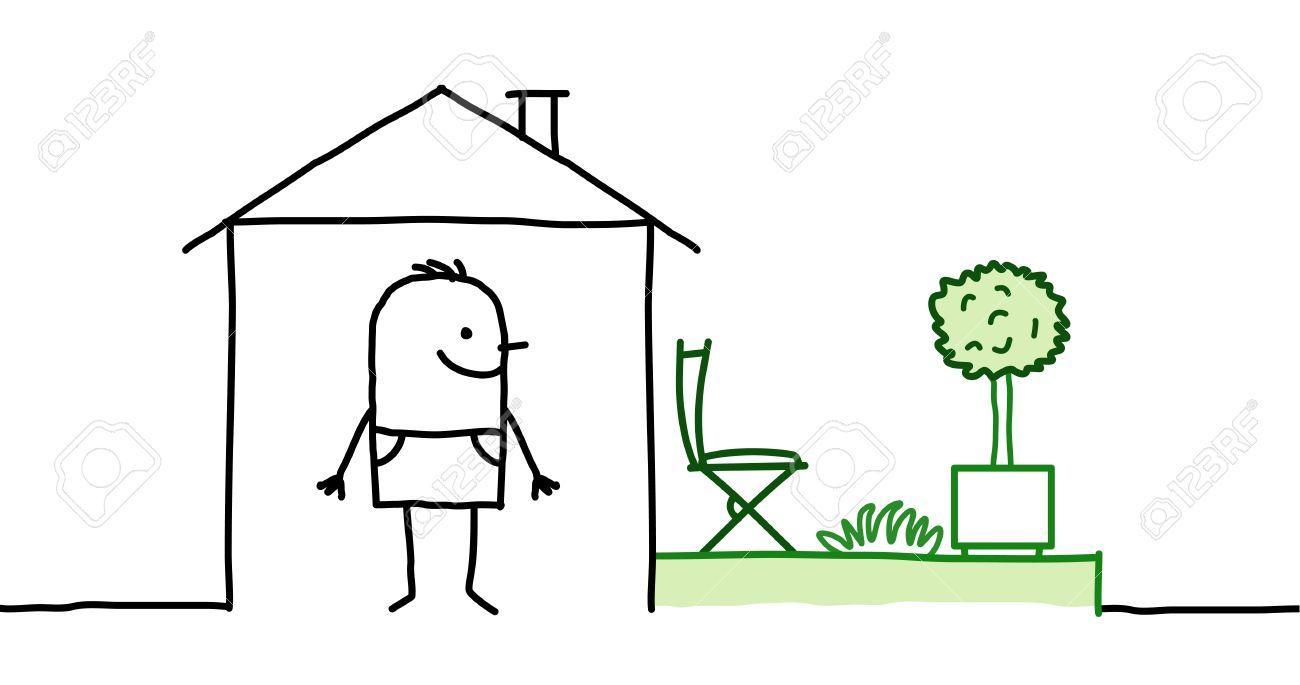 hand gezeichnet comic-figuren - ein mann & haus mit garten, Garten ideen