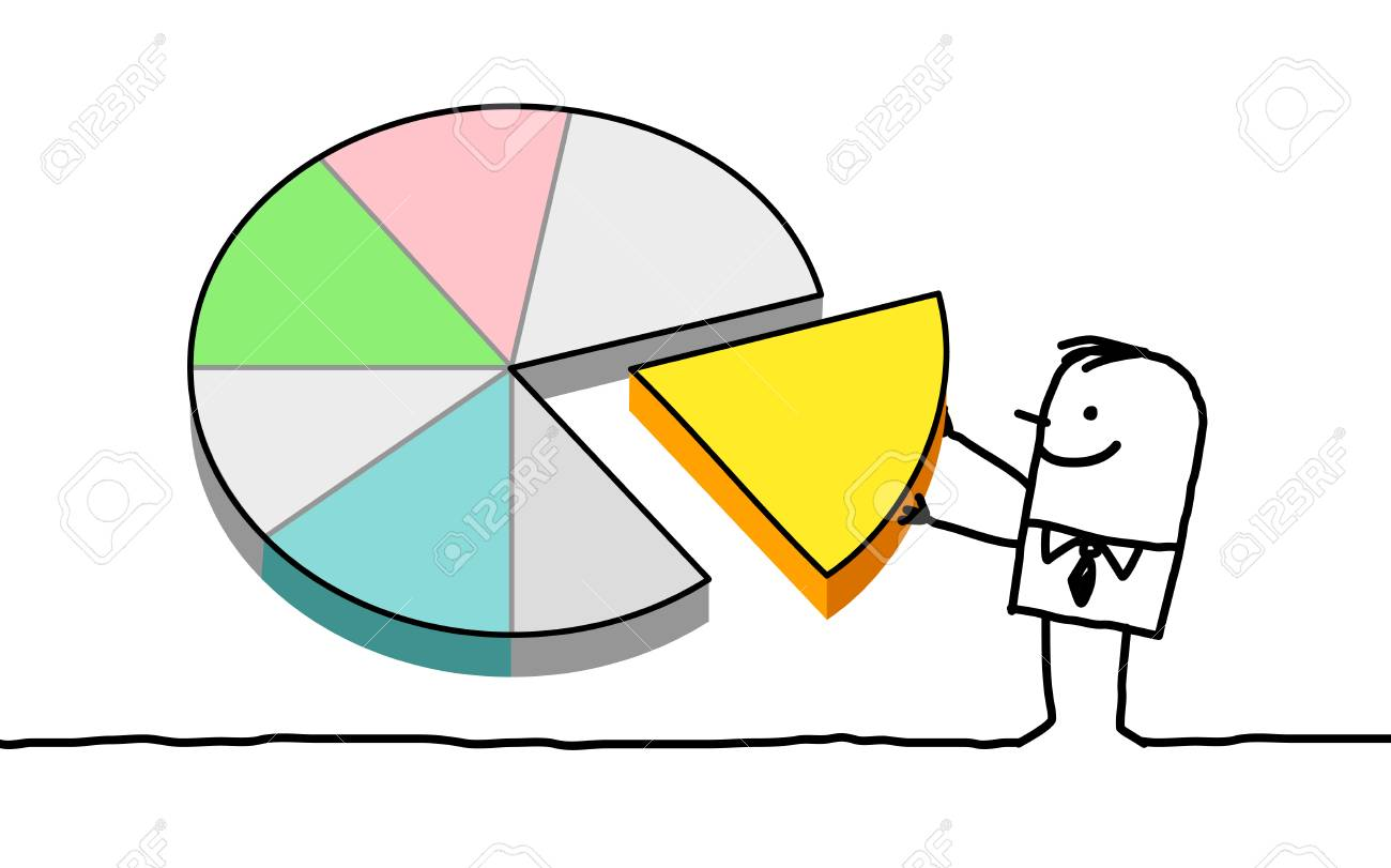 hand drawn cartoon characters - man and pie chart stock photo