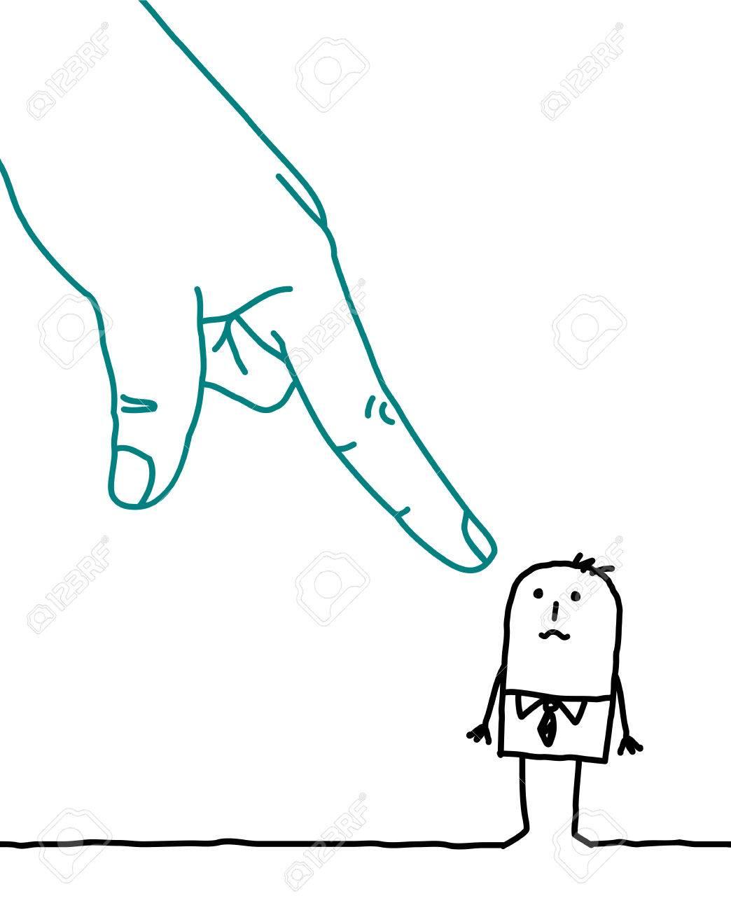 Gran Mano Y Hombre De Negocios De Dibujos Animados - Acusación Fotos ...