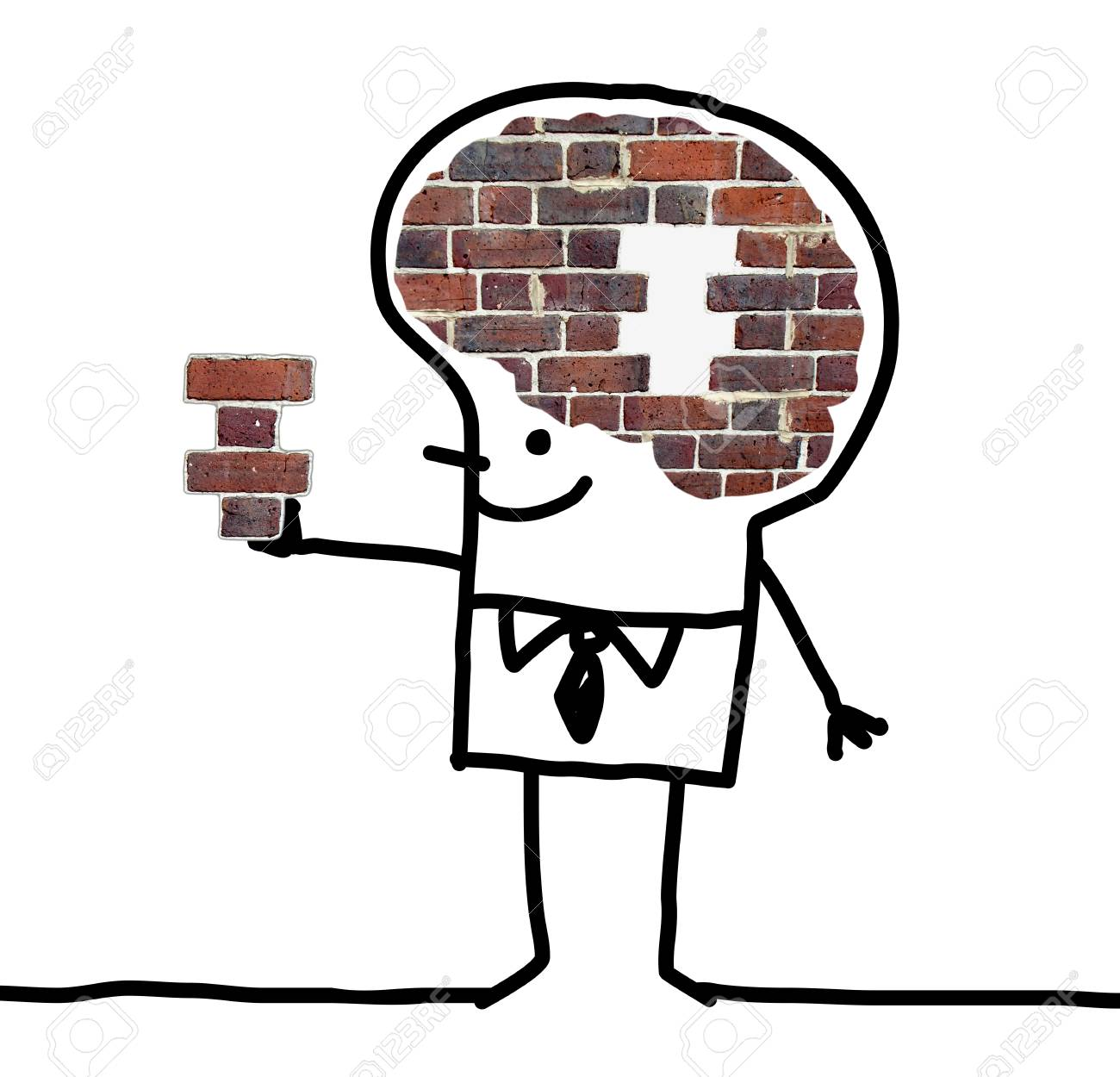 Cartoon big brain man wall and puzzle stock photo picture and cartoon big brain man wall and puzzle stock photo 73832354 thecheapjerseys Gallery