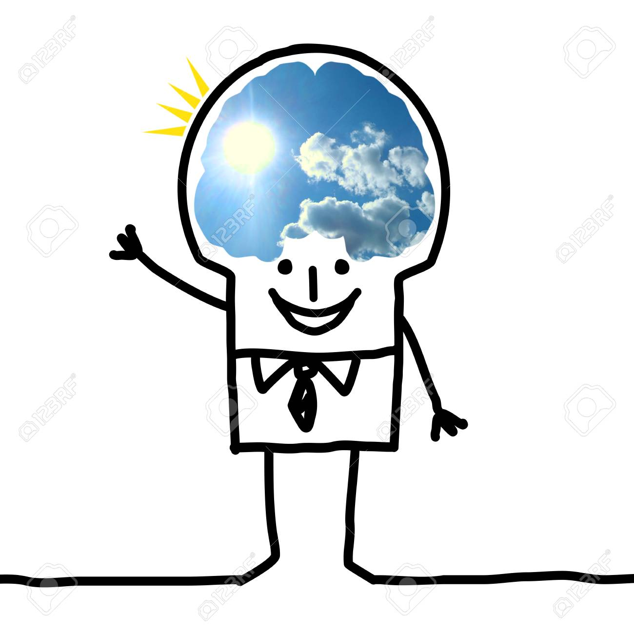 Cartoon big brain man blue sky and optimism stock photo picture cartoon big brain man blue sky and optimism stock photo 73832353 thecheapjerseys Gallery